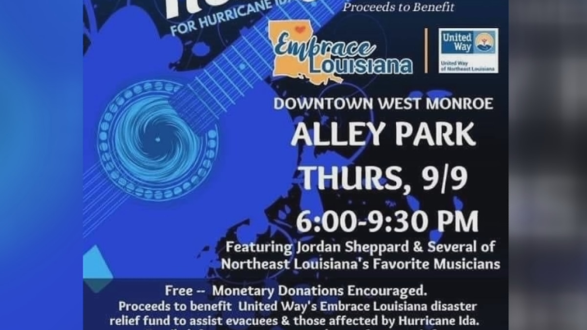The city of West Monroe is putting on a concert this Thursday, September 9 to benefit Hurricane...