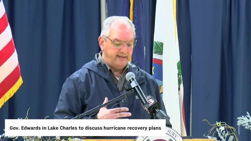 Gov. John Bel Edwards and Southwest Louisiana leaders speak on long-term hurricane recovery...