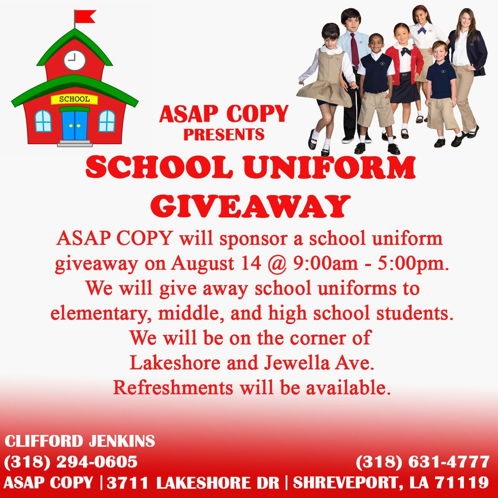 A flyer for ASAP Copy's back to school uniform giveaway.