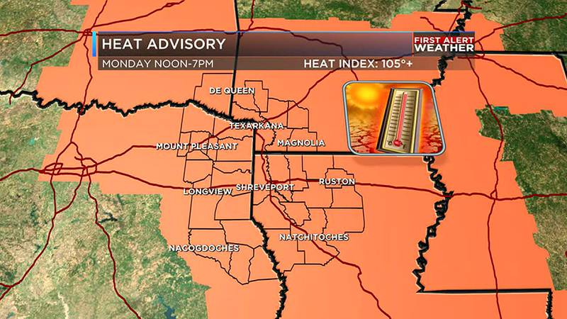 Heat advisory until 7pm with little to no rain.