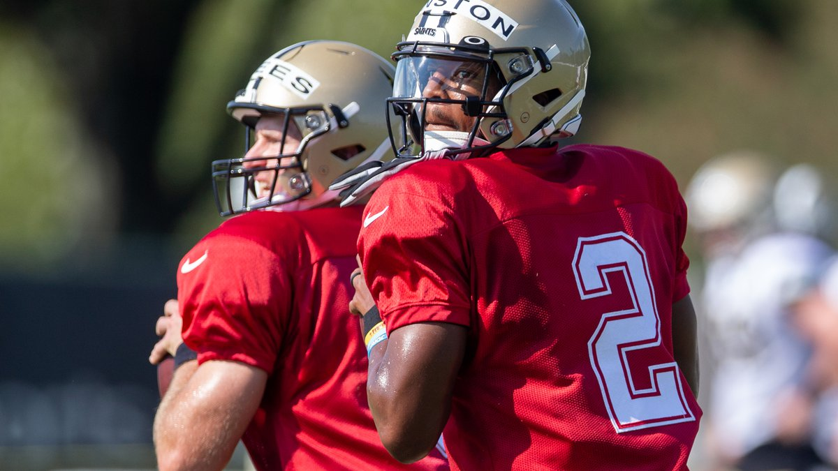 New Orleans Saints quarterback Jameis Winston (2) throws the ball during an NFL football...