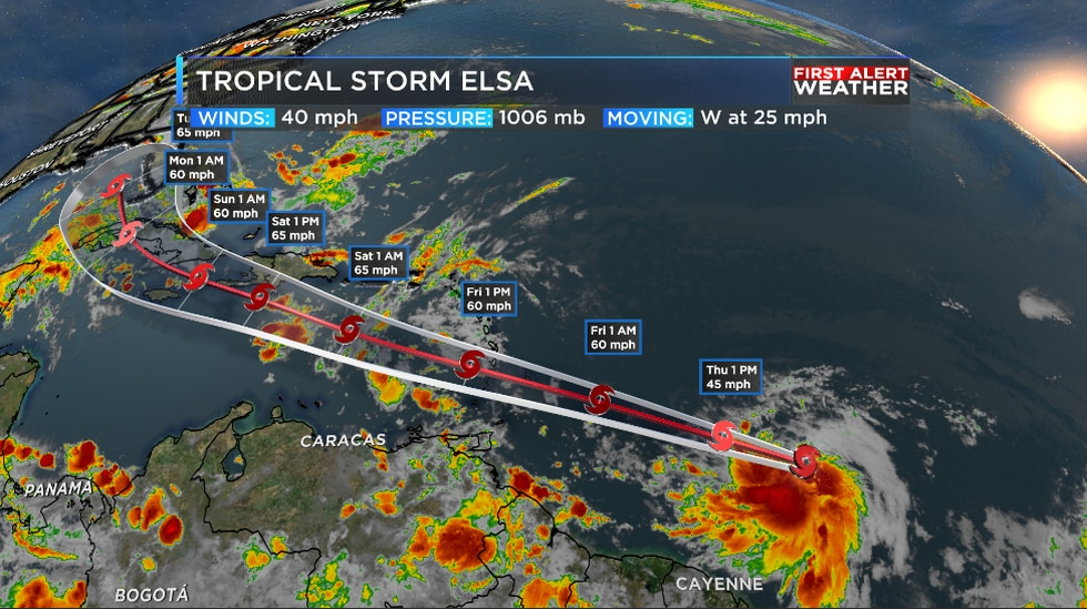 Tropical Storm Elsa has formed in the Central Atlantic and is racing off to the west.