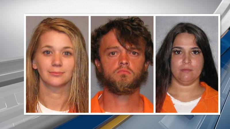 From left: Karen Christensen, 29; Jeffrey McClain, 32, and Melissa Holman, 30 are all charged...