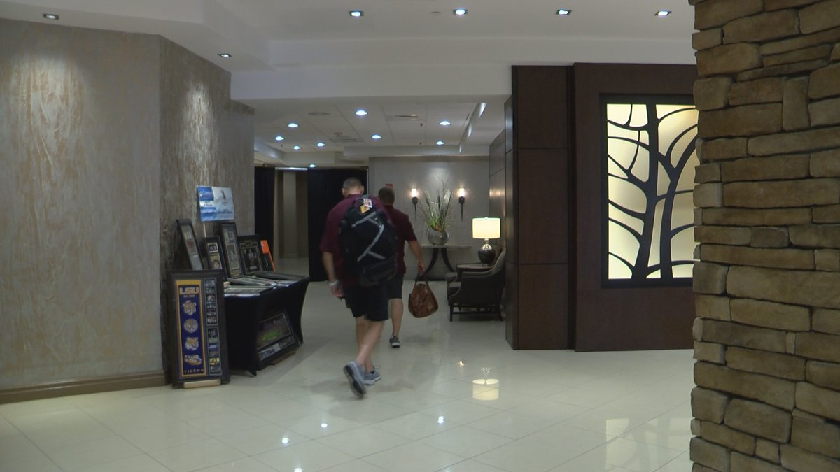 The Crowne Plaza in Baton Rouge says they have had to cancel bookings to accommodate first...