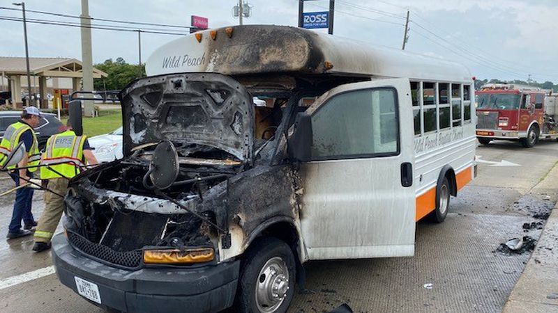 A bus from Wild Peach Baptist Church in Brazoria, Texas caught fire Monday, June 7, 2021 in...