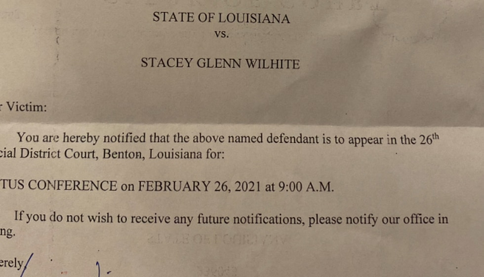 A letter dated December 15, 2020 from the Bossier Parish Clerk of Court's office states...