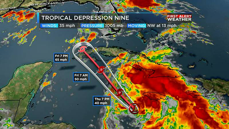 Tropical Depression Nine has formed in the Caribbean and is forecast to become a hurricane this...