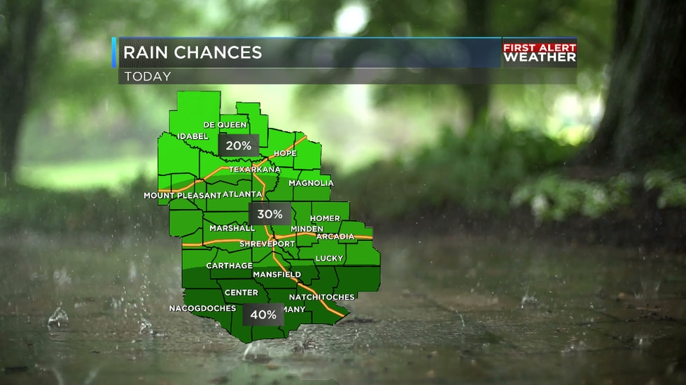 We are tracking scattered showers and storms for the ArkLaTex Thursday.
