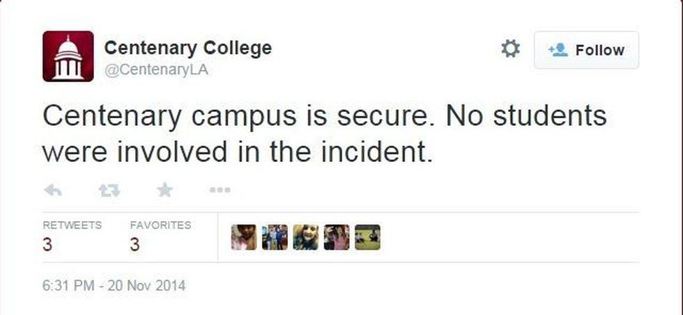 Tweet from Centenary College