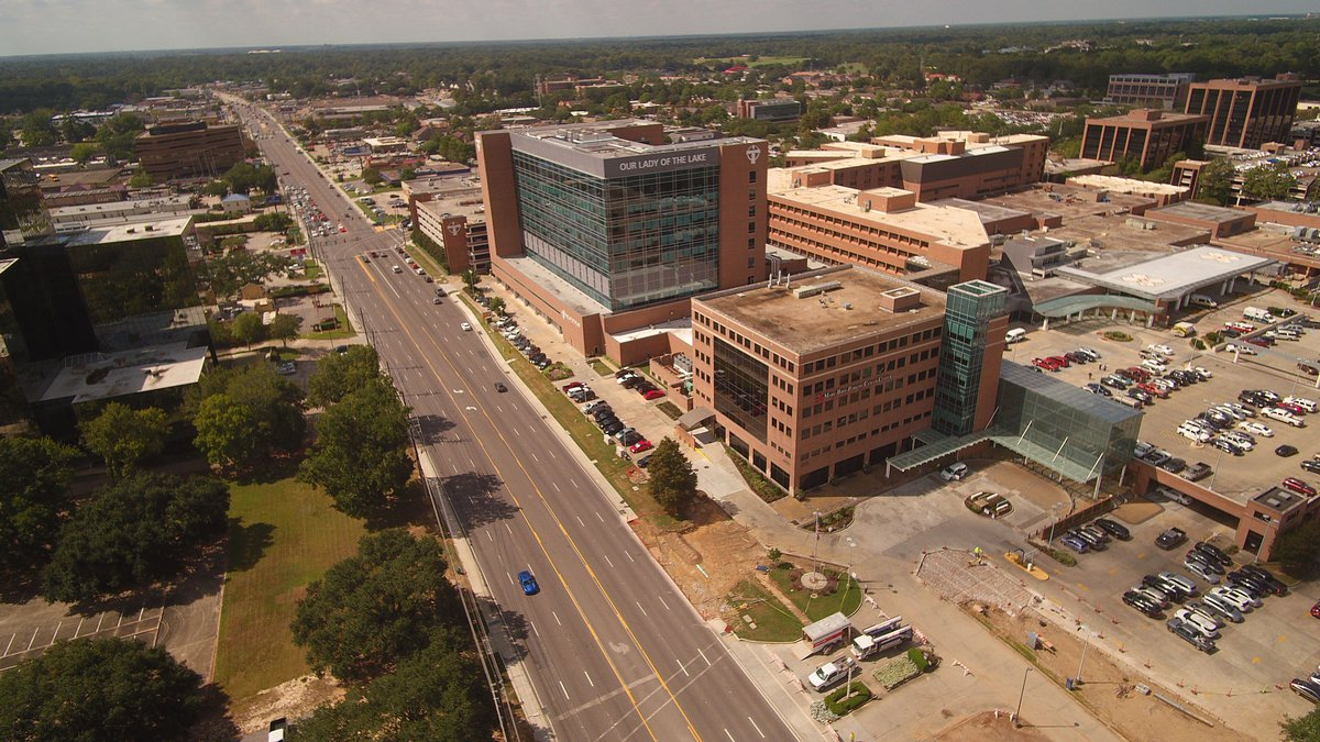 Aerial Photo of Our Lady of the Lake  Hospital on Essen Lane in Baton Rouge, La.
