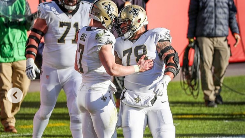 Taysom Hill celebrates one of his two TD runs. (Source: New Orleans Saints)
