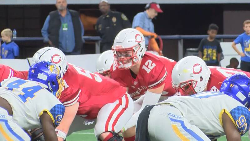 Carthage quarterback Kai Horton under center at the 2019 UIL 4A DI state championship game in...