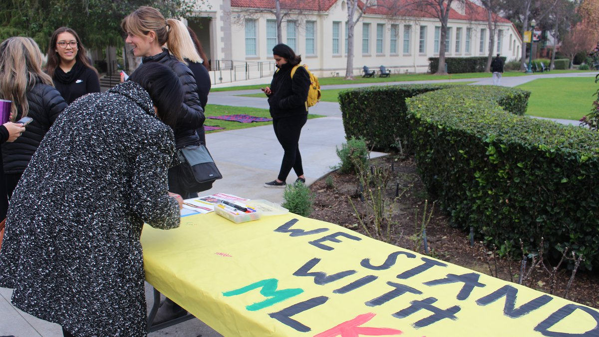 Students gather on the campus of Whittier College in Jan. 2020 in support of establishing Dr....