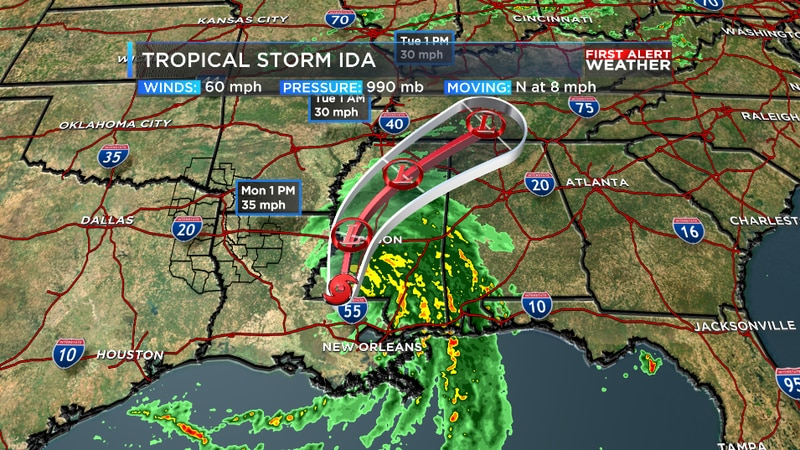 Ida continues to move inland bringing damaging winds and flooding rains.