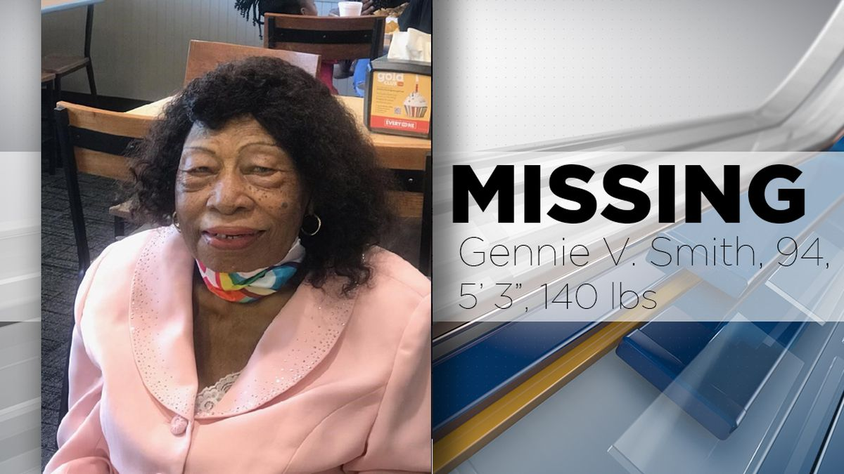 MISSING: Gennie V. Smith, 94, of Shreveport, stands 5′3″ tall and weighs 140 pounds. She last...