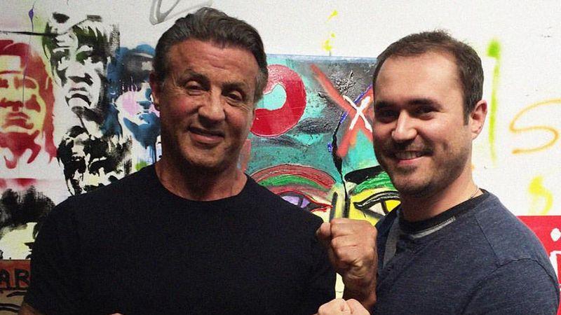Derek Johnson with actor Sylvester Stallone