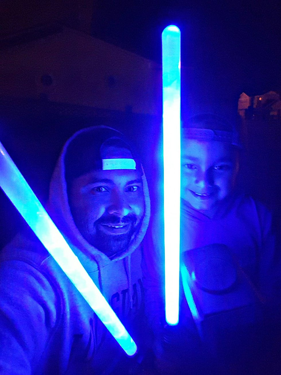 5-year-old Max with dad Kevin on one of their nighttime walks together.