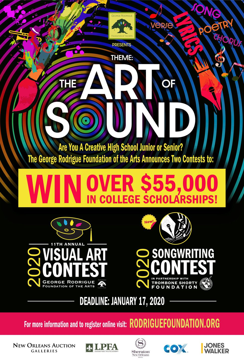 Three young songwriters will be awarded $10,000 in college scholarships (art contest will have...