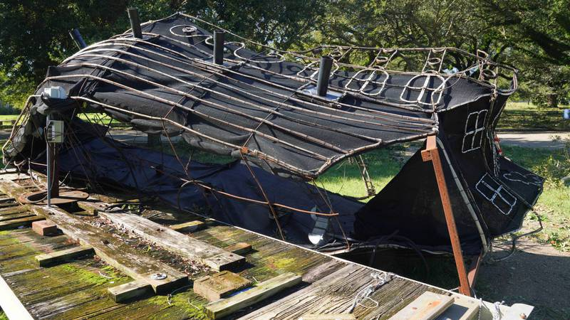 The Pirate Ship from City Park's Celebration in the Oaks, toppled by Hurricane Zeta