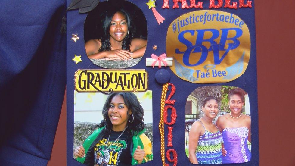 Photos of LaShuntae Benton adorn her mother's graduation cap.