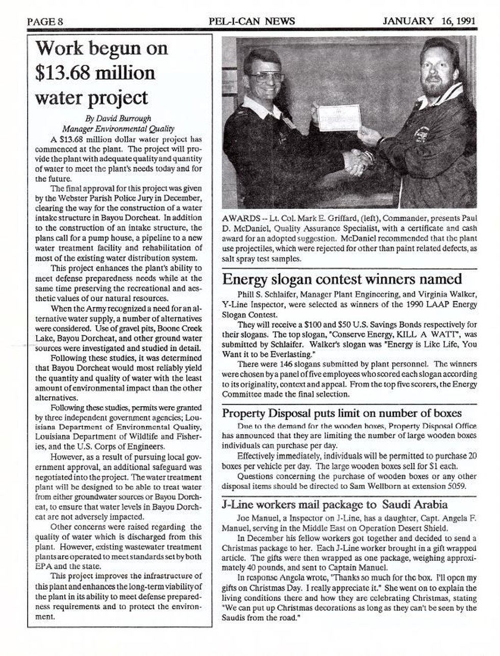 This article written in 1991 was published in the company's newsletter concerning the...