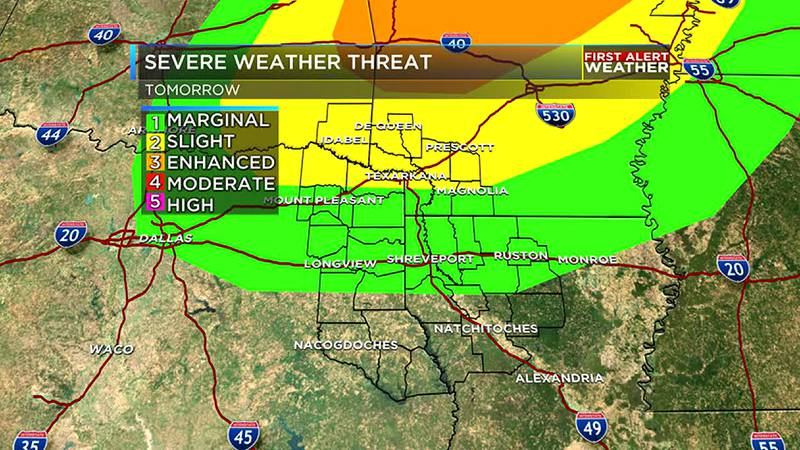 Could have strong storms late Sunday as a cold front moves in.