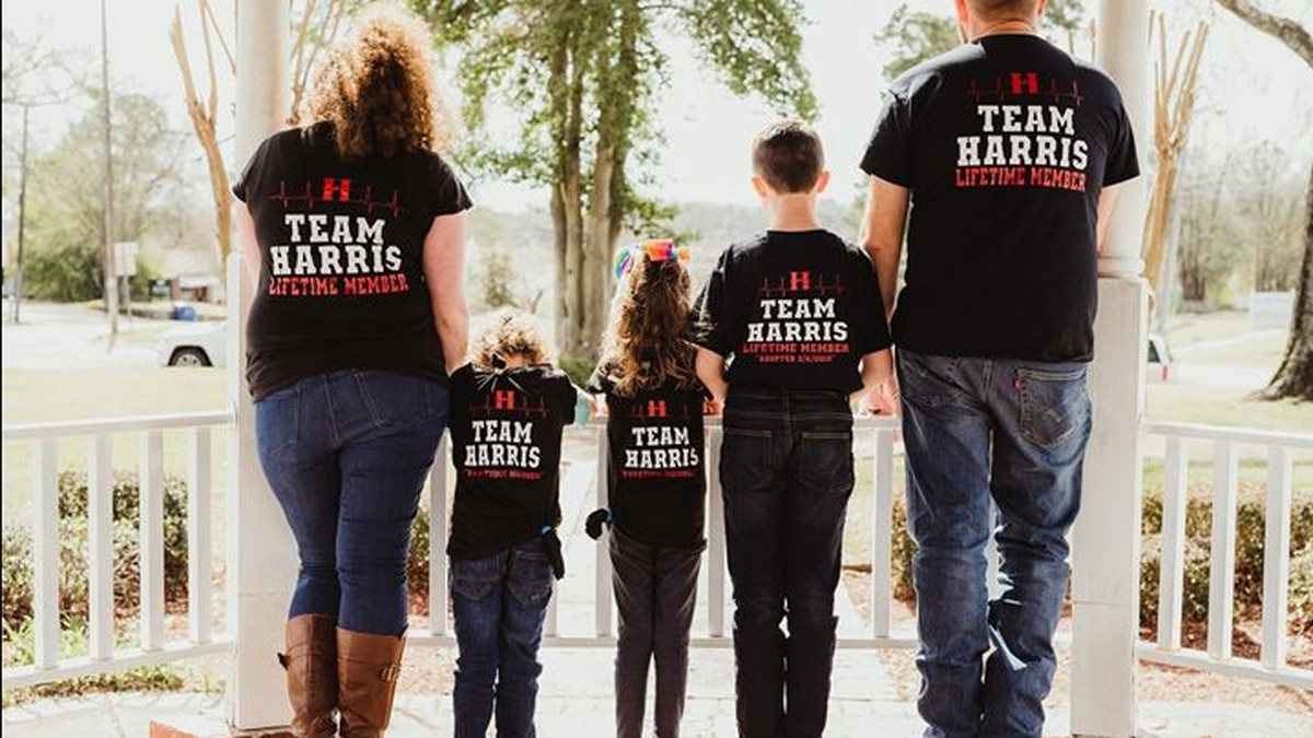 The Harris family celebrating the adoption of now 11-year-old Zachary.