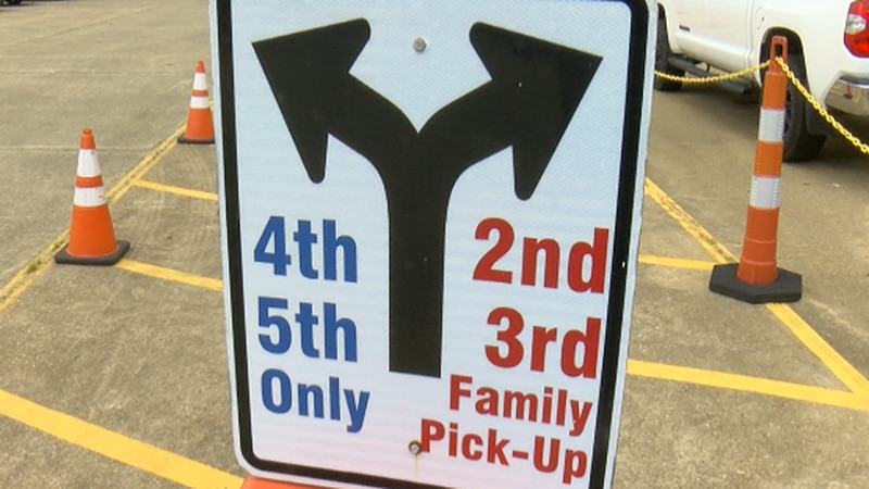 Signs across the North DeSoto Elementary campus directs parents through carpool.
