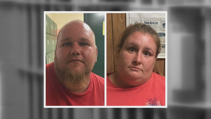 From left: Dustin Crow, 30 and Samantha Crow, 30  both of Noble are booked in the Sabine Parish...
