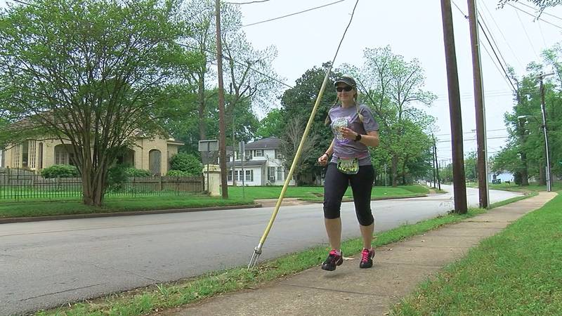 Caroline Garner runs the Nacogdoches streets training for her next virtual race (Source: KTRE...