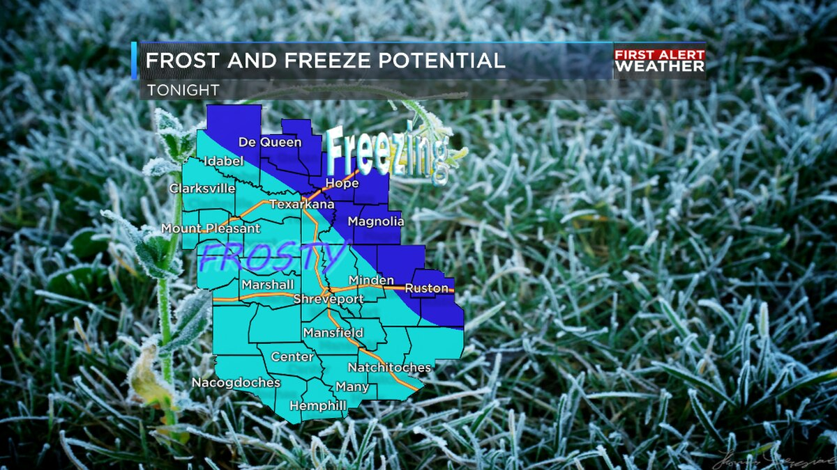 Frost and possible freezing conditions are expected Thursday night