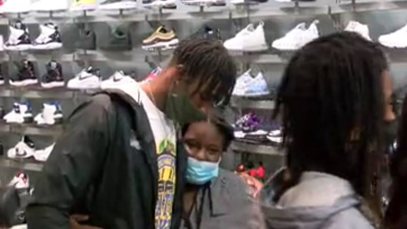 LSU wide receiver Terrace Marshall Jr. surprised six Boys & Girls Club members with a shopping...