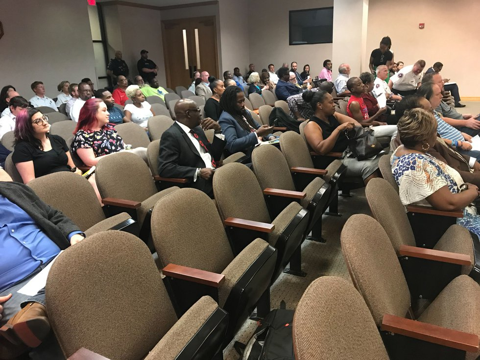 People gather for the Shreveport City Council meeting the afternoon of June 11.