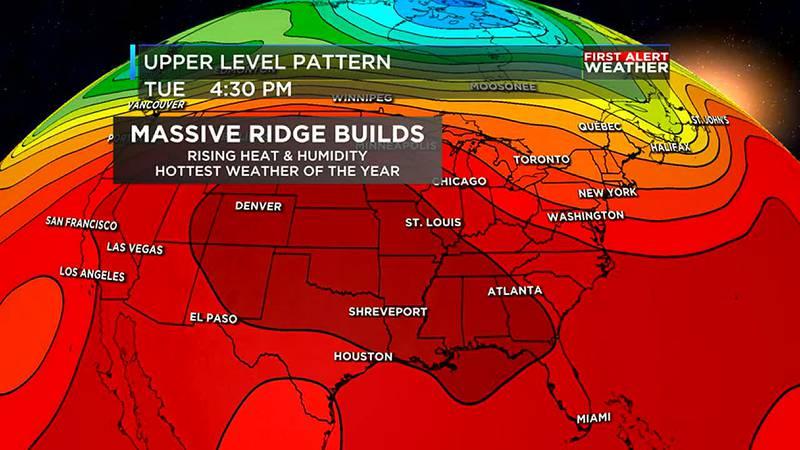 This ridge will prevent rain, and will make temperatures hot