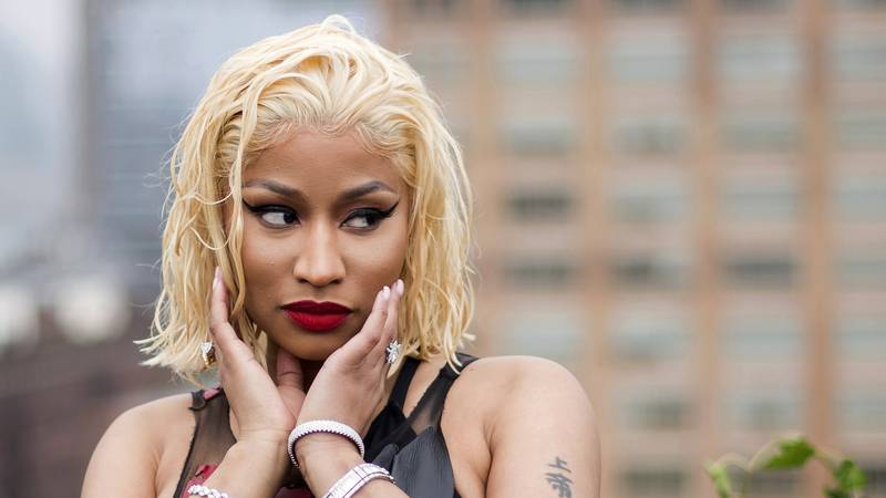 FILE - In this Sept. 11, 2018, file photo, Nicki Minaj attends the Oscar de la Renta show...