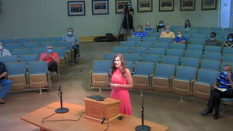 Amanda Nottingham addresses Bossier City Mayor Tommy Chandler and Bossier City Council members...
