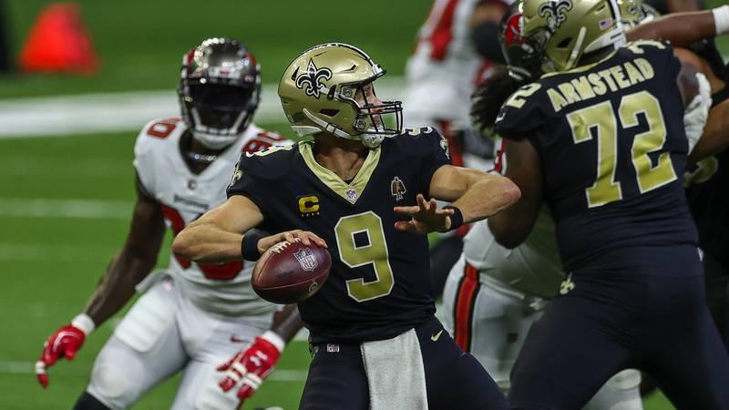 Sep 13, 2020; New Orleans, Louisiana, USA; New Orleans Saints quarterback Drew Brees (9) throws...