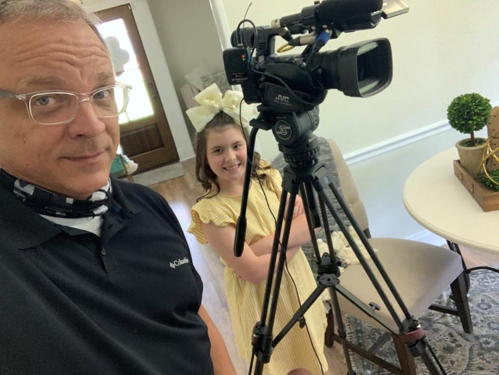 KSLA News 12's Doug Warner with 9-year-old Baleigh Berry.
