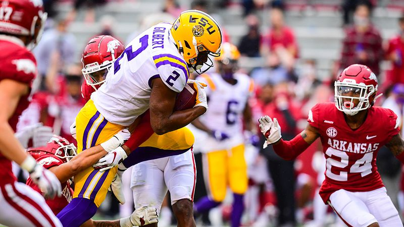 Arik Gilbert (2) of the LSU Tigers during the second half of a game against the Arkansas...