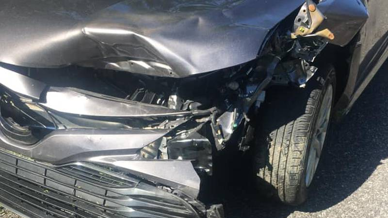 This was the damage to a vehicle that hit a bear on I-10 near the Iberville-West Baton Rouge...