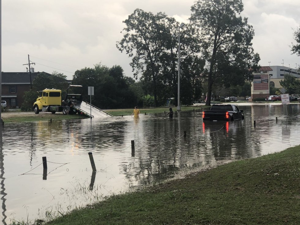 Truck stalls out in high water.