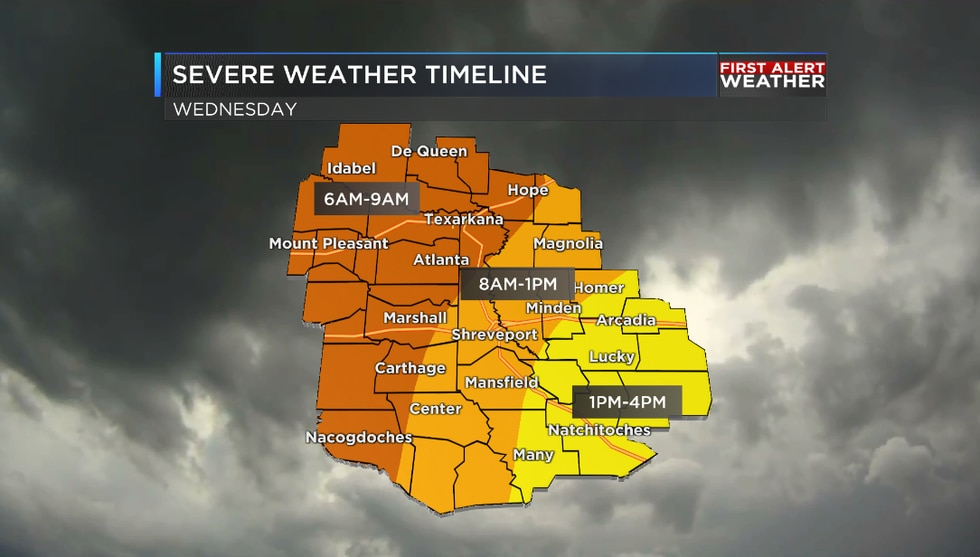 Timeline for severe weather across the ArkLaTex on Wednesday