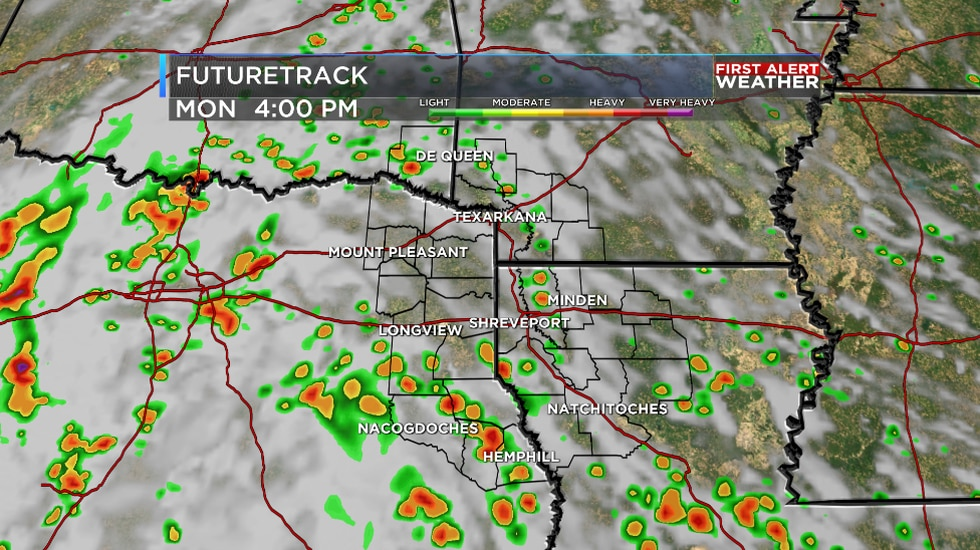 We are tracking hit and miss afternoon showers and storms across the ArkLaTex Monday!
