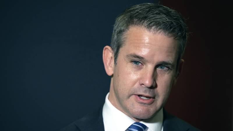 FILE - In this May 12, 2021 file photo, Rep. Adam Kinzinger, R-Ill., speaks to the media at the...