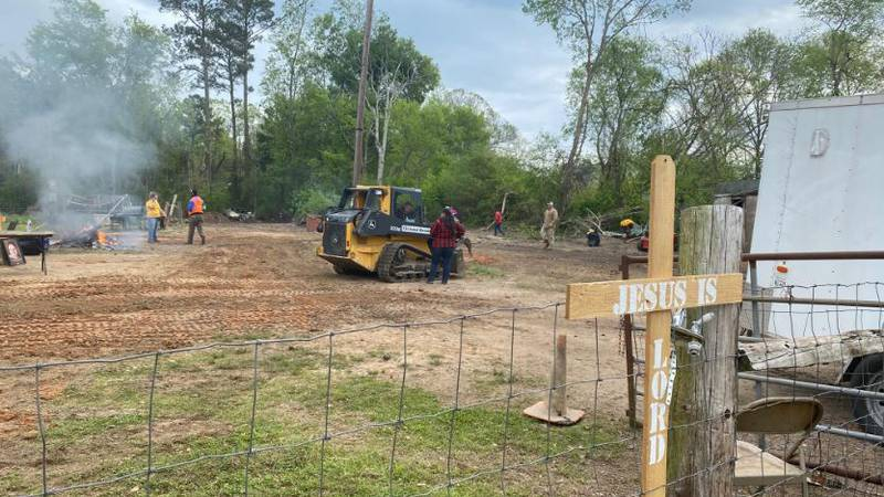 Cleanup continued a month after a March 27 tornado that took the life of Edward Laird's wife...