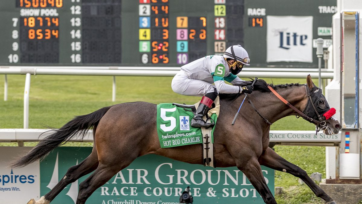 In this image provided by Hodges Photography, Hot Rod Charlie, with Joel Rosario aboard, wins...