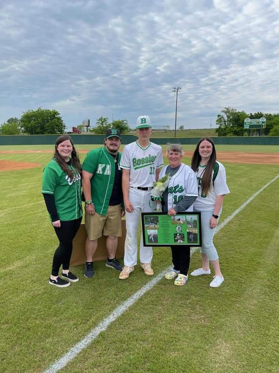 Coleman Beeson with his family on senior night for the baseball team.