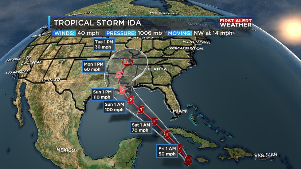 Ida will strengthen in the gulf to a hurricane