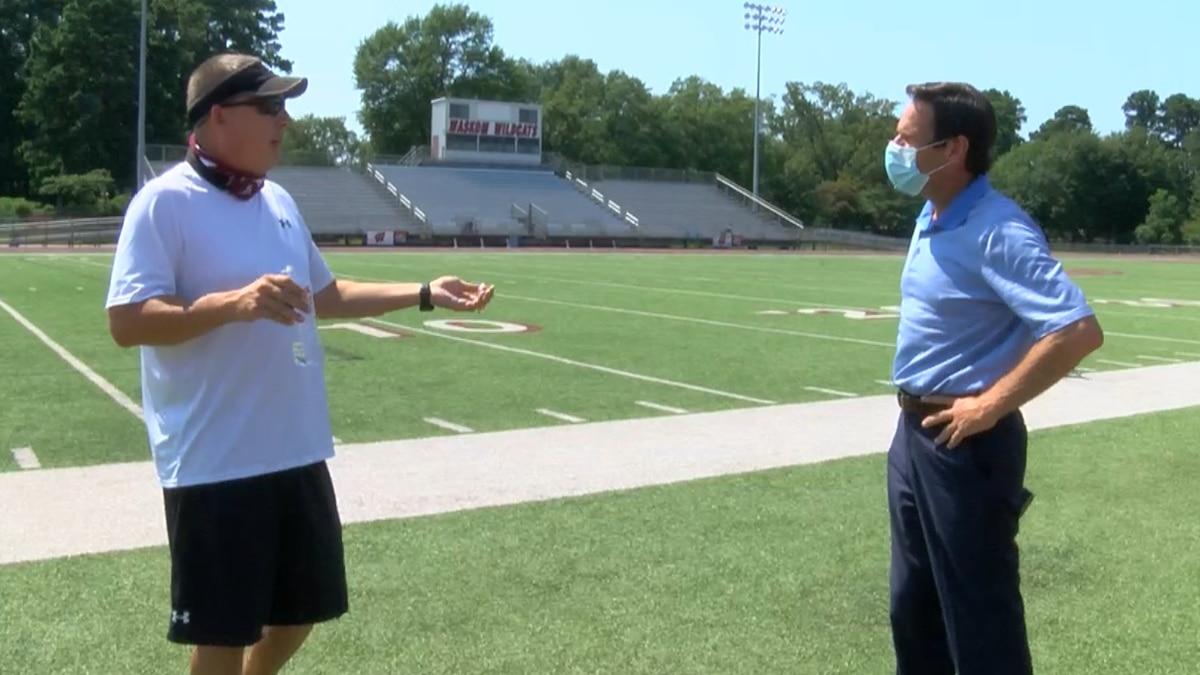 Waskom, TX Head Football Coach Whitney Keeling speaks with KSLA shortly before the start of the...