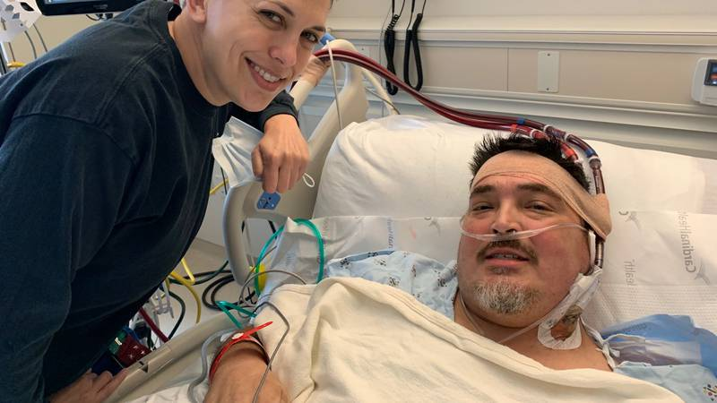 53-year-old Terry Roberson smiles with Willis Knighton registered nurse Erin McDaniel.